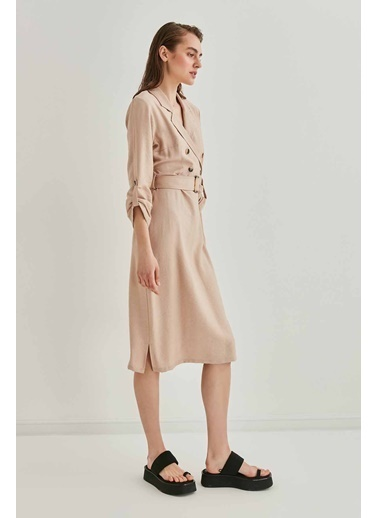 Vitrin VİTRİN Kruvaze Yaka Detaylı Kemerli Elbise Bej